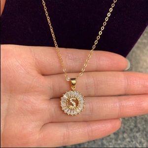 """Jewelry - New 18K gold """" S """" CZ Diamond necklace"""